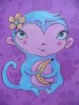 blue monkey on purple background